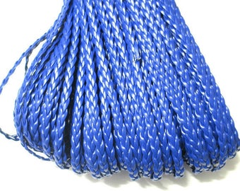 dangles of blue imitation leather braided 5x2mm