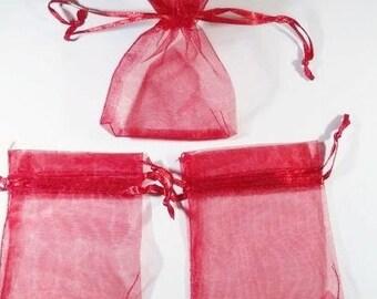 10 Red 9x7cm organza sleeves