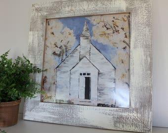 Farmhouse Style Decor, Art Print, Wall Decor, Country Church, Abstract Art, Fine Art Giclee Print