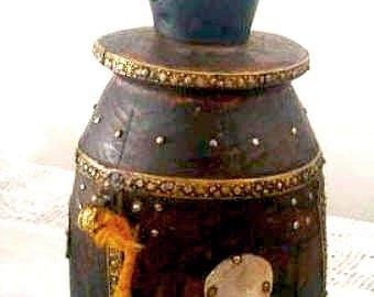 Antique Ottoman Wooden Powder Keg