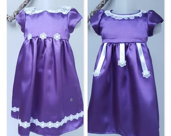 Flower Girl dress, Bridesmaid Dress, Baby Birthday Party Dress, Special Occasion dress. Purple Dress. 6-9 & 9-12 months. By JQDresses