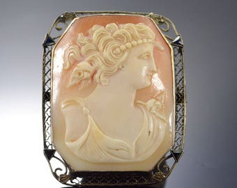14k Carved Cameo Filigree Pendant/Pin Gold