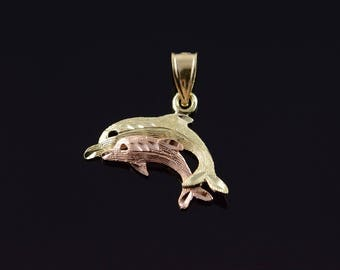 14k Two Tone Mother Child Baby Mom Swimming Dolphin Ocean Sea Charm/Pendant Gold