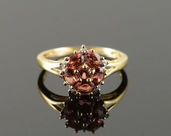 10k 1.05 CTW Garnet Diamond Cluster Ring Gold