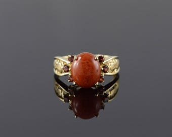 14k 3.00 CTW Cabochon Agate Filigree Ring Gold