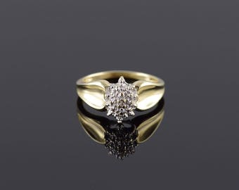 Diamond Starburst Tiered Cluster Concave Ring Size 7 Gold