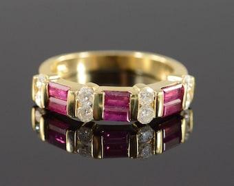 14k 1.50 Ctw Ruby & Diamond Bar Set Ring Gold