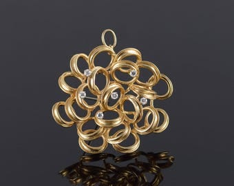 14k Dan Frere 0.30 CTW Diamond Free Form Circle Cluster Pin/Brooch Gold