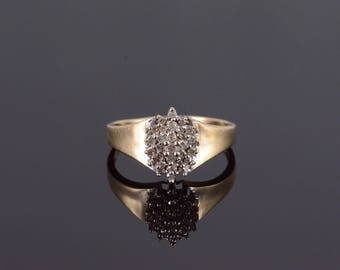 10k 0.30 Ctw Diamond Marquise Tiered Cluster Ring Gold