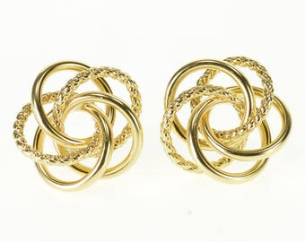 14k Two Textured Rope Interwoven Circle Post Back Earrings Gold