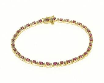 "14k Ruby Diamond Accented Tennis Bracelet Gold 7.25"""