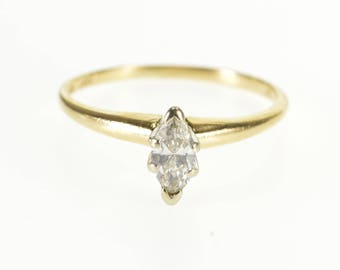 14k 0.25 Ct Marquise Diamond Solitaire Engagement Ring Gold