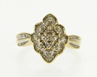 10k Scalloped Pointed Diamond Cluster Statement Ring Gold