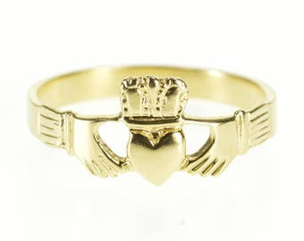 14k Traditional Celtic Claddagh Irish Loyalty Ring Gold