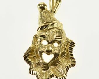 14k Diamond Cut Stylized Clown Circus Pendant Gold