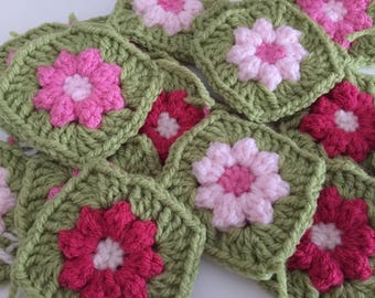 16 x Crochet Granny Squares wool, Hand made, make your own cushion/pillow, vintage style