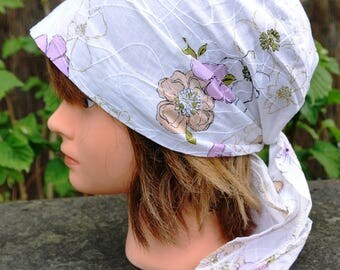 Bandana headscarf scarf preformed cotton white and pink flowers - one size