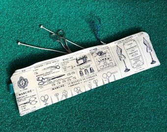 Scissors Knitting needle case, knitting gift, cool knitting needle bag, craft knitting pin bag, knitting needle case, large knitting needles