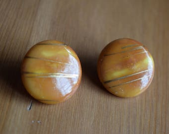 Vintage orange and gold clip on earrings, 1980s