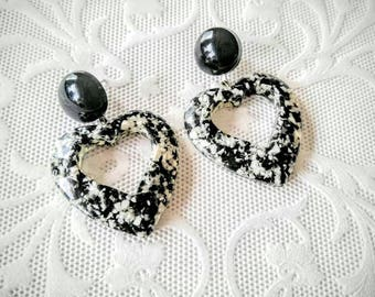 Dangle Style Heart Earrings-Black and White Retro/Vintage-Marble-Retro-All Orders Only .99c Shipping!!