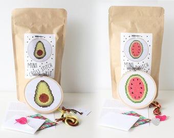 Watermelon + Avocado Mini Cross Stitch Kit COMBO / 2 MINI kits / Stitchers Gift / Stocking Stuffer / Needlepoint Gift / Embroidery Kit