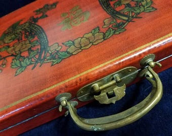 Vintage Asian Laquer Box Solid Wood Brass Hardware Decal Decoupage