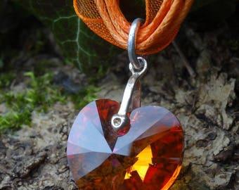 Swarovski Crystal Astral Pink Crystal heart pendant