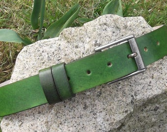 "Leather belt 3,5 cm wide, 16 colors to choose ("" vert anis"" on the photo )"