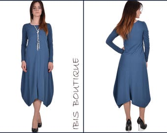Blue woman maxi dress, plus sizes / large sizes, autumn / winter, long sleeves, casual loose / flared design, office / work outfit