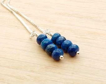 Lapis Lazuli Threader Earrings, Sterling Silver Gold Filled, Box Chain, Wire Wrapped, Real Genuine AAA Gemstone Stacks, Royal Blue Jewelry