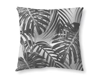 Tropical Leaves Black and White - floor pillow