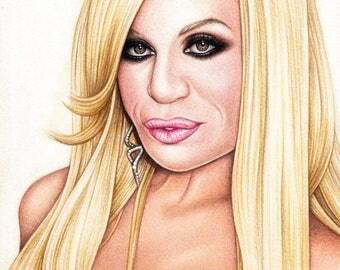 Original Donatella Versace drawing (21x30cm)