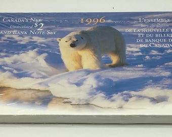 Canada 1996 2 Dollar Coin 1986  Uncirculated Coin And Banknote Set Canada 1986 Banknote Polar Bear Coin Collector 21th Birthday