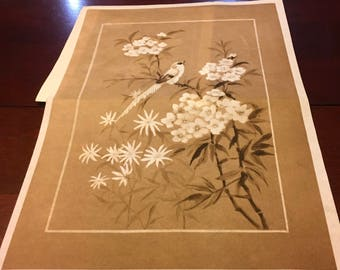 """Tri Chem Pictures To Paint Paint By Numbers Oriental Songbird And Blossoms Wallhanging Asian Orient Bird Flower Floral Blooms 12 """" x 18 """""""