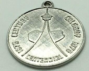 Calgary 1975 Centennial Sterling Silver Charm For Bracelet Alberta Canada Round Disk Travel Souvenir