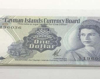 Cayman Islands  1971  1 Dollar  GEM UNC Queen Elizabeth   Paper Money Souvenir Scrapbook Scrapbooking