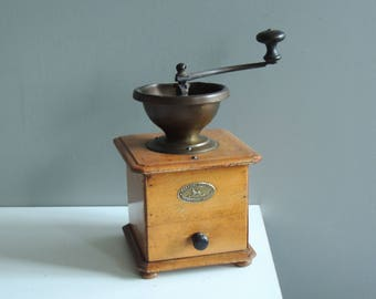 French Peugeot coffee grinder with brass hopper / all original in good condition