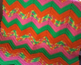 """Clearance:  Crocheted ripple baby afghan.  Lap afghan.   30""""x 40"""".  Vibrant colors"""