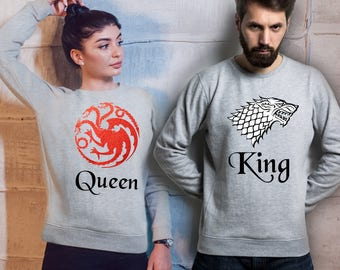 Targaryen and Stark king and Queen His and Her matching sport grey sweatshirts set.