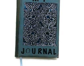 Blue Metal Journal, Distressed Metal Journal -built in Bookmark-Lined pages,Diary/Notebook, gift for writers, writing journal, owl, embossed