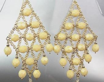 GORGEOUS Creme Aventurine Gold Chandelier Dangle Earrings, Bohemian Earrings, Cascading Dangle Earrings, FREE SHIPPING!