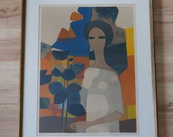 "MCM Andre Minaux ""L'Americaine"" Signed Limited edition Lithograph Art Print 1970"