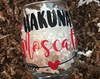 Hakuna Moscato - Stemless Wine Glass - Personalized Hakuna Moscato Wine Glass - Lion King inspired Wine Glass