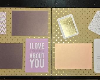 Pink Purple Gold Polka Dot Memories Set (2 page scrapbook set)