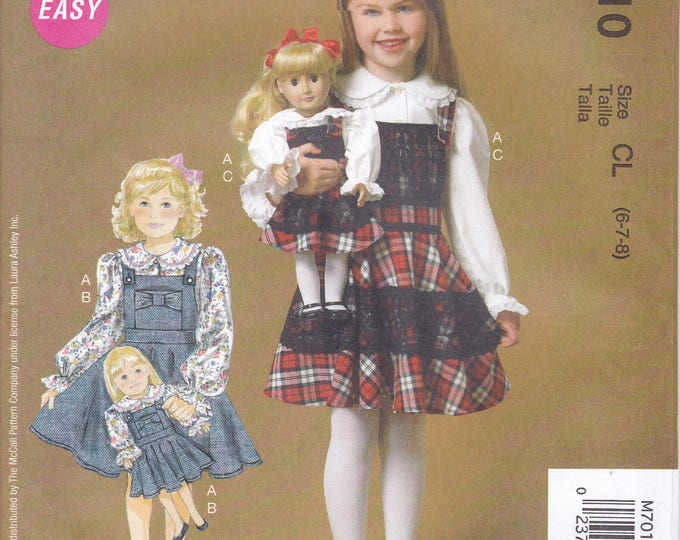 Free Us Ship Sewing Pattern McCall's 7010 Girls Dress Matching American Doll Laura Ashley Designer Factory Folded Size 6 7 8