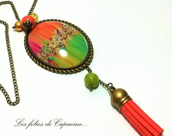 Necklace Cabochon necklace. • psychedelic. •