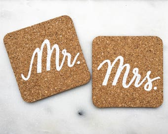 Mr. and Mrs. Coaster Set