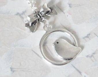 Necklace silver bird round, bird, retro bird necklace jewelry, romantic bird necklace