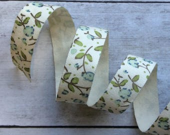Cream Floral Cotton Ribbon Blue Flowers