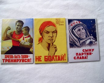 Set of 3 Fridge magnets Soviet propaganda Russia